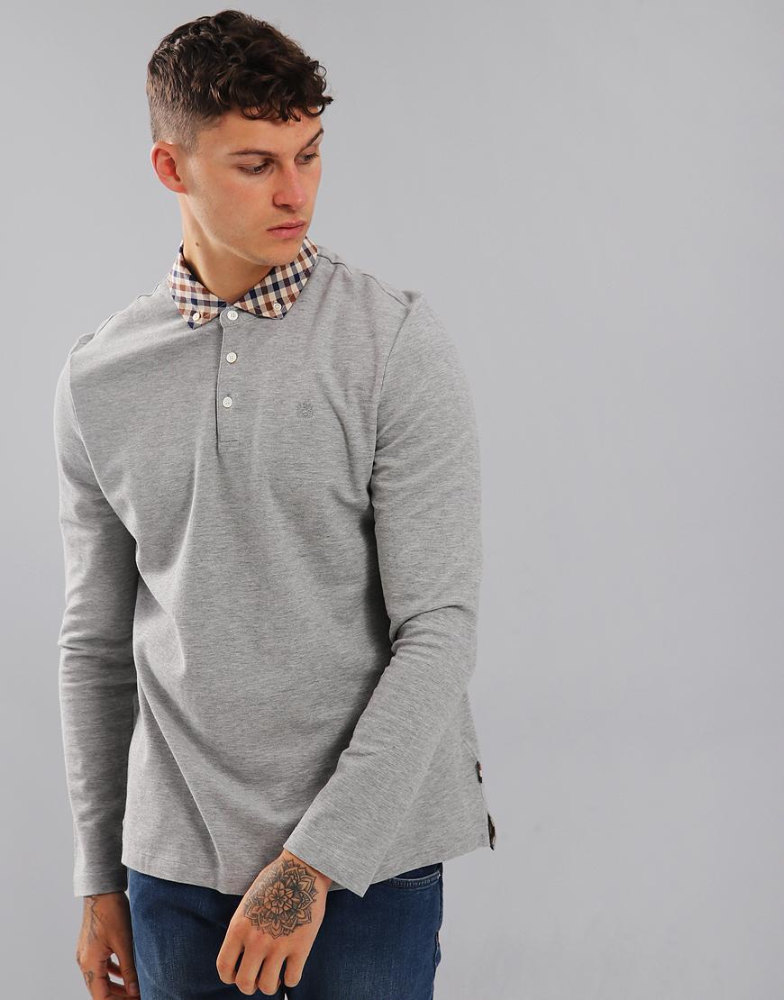740ef810e16 Aquascutum Coniston Long Sleeve Club Check Placket Polo Shirt Grey