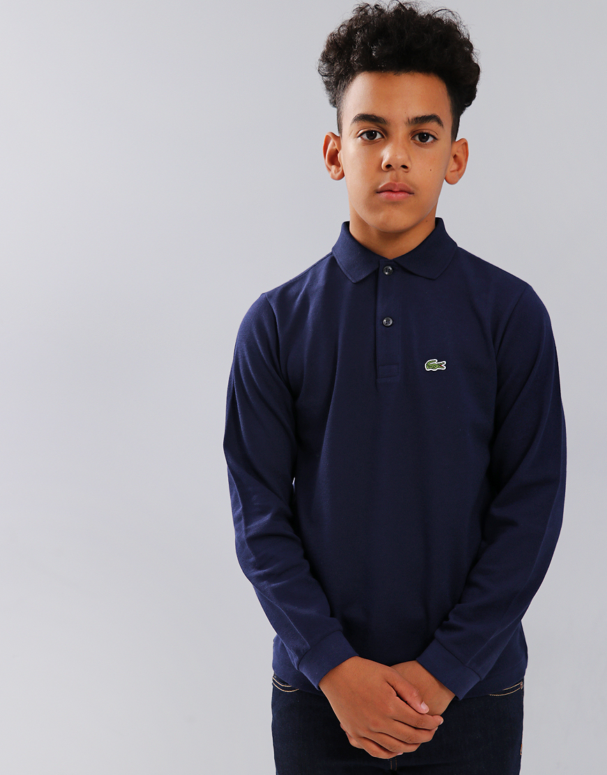 8bdc16282 Lacoste Kids Long Sleeve Plain Polo Shirt Navy Blue - Terraces Menswear